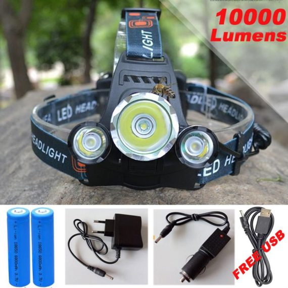 10,000 Lumens Ultra High Power Rechargeable LED Headlight