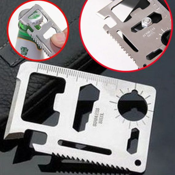 Multi-function 11 in 1 Portable Pocket Size Survival Tool Card