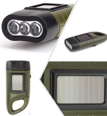 Solar and Hand Crank Flashlight – Rechargeable Flashlight