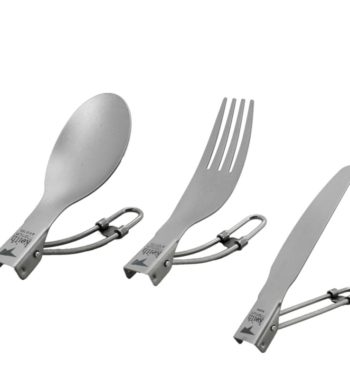 Folding Titanium Cutlery Set – Spoon, Spork and Knife