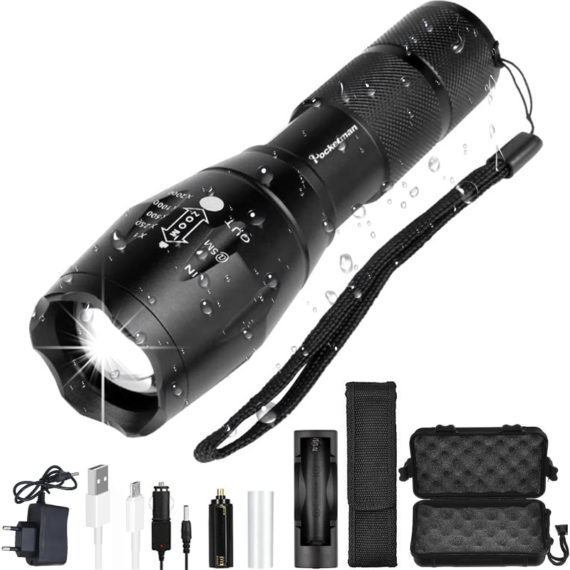 Tactical LED Flashlight – 4000 to 12000 Lumens